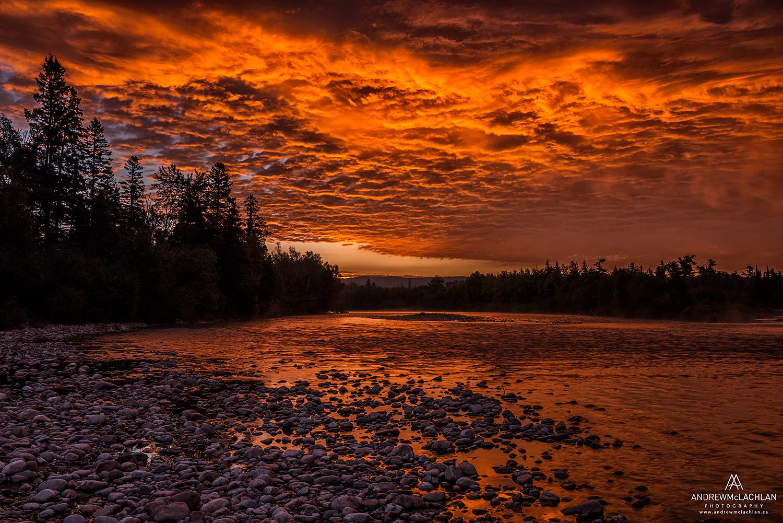 Sunsrise on the Agawa River, Lake Superior Provincial Park, Ontario, Canada