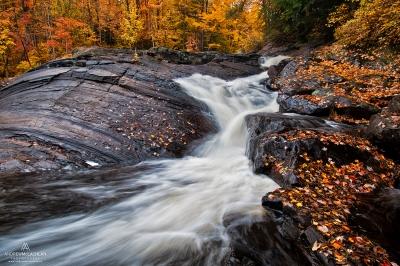 Autumn color at Stubbs Falls, Arrowhead Provincial Park, Ontario, Canada