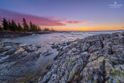 Sunset on Lake Superior near Wawa, Ontario, Canada