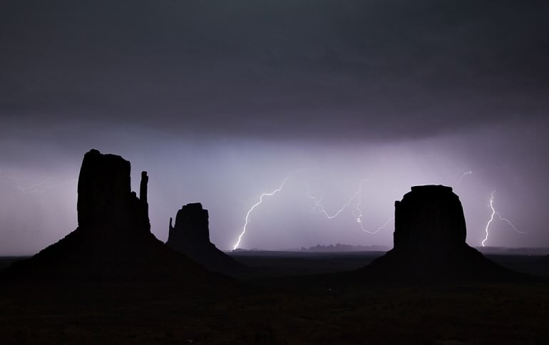 Lightning over Monument Valley, Utah.