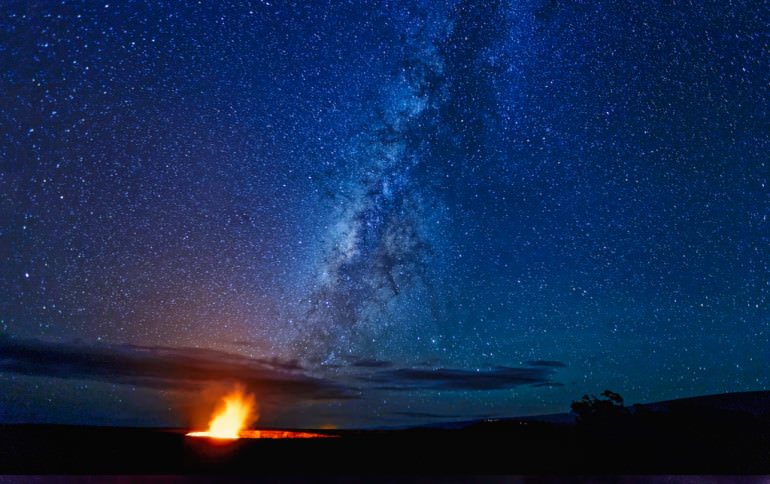 Kilahuea Caldera Under Milky Way