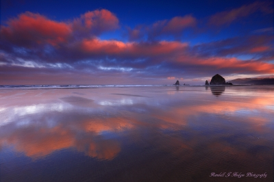 Sunrise With Haystack Rock and the Needles From Cannon Beach on the Oregon Coast