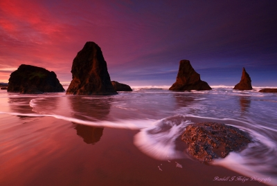 Sunrise and Sea Stacks in the Surf from Face Rock Beach in Bandon Oregon