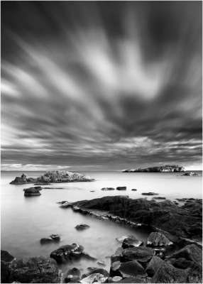 Black and White of an Island with Cloudy Weather