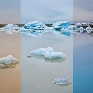 Composite image by Thierry Hennet: Jökulsárlón Glacier Lagoon in Iceland, Illustrates how the mood can be transformed using the Gold-N-Blue (center image with no filter).