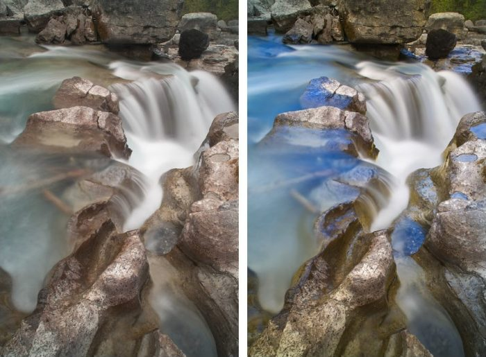 Photos taken with and without LB Gold-N-Blue Polarizer