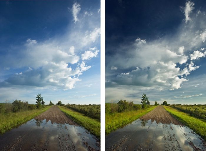 Photos taken with and without LB Neutral Polarizer