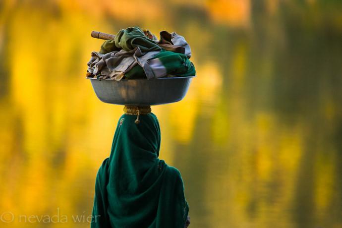 Photo taken with LB Warming Polarizer: India. Gujurat. Little Rann of Kutch. Ambala Village. Parbharwad Tribe. Laundry.