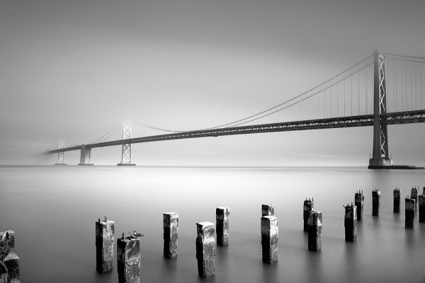 Black And White Photo of a Bridge in the Distance