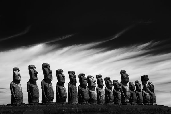 Black and White Photo of the Statues from Easter Island