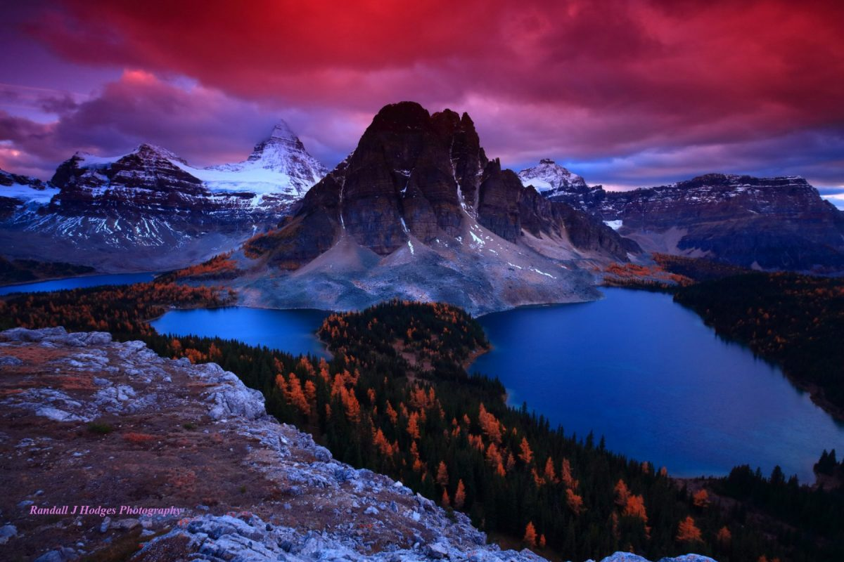 Sunset Mt Assiniboine Over Cerluean Lake and Sunburst Lake and Lake Magog From the Niblet in Mt Assiniboine Provincial Park in Brittish Columbia Canada