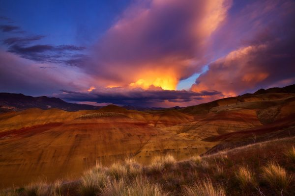 fast-approaching thunderstorm over the Painted Hills Unit of John Day Fossil Beds National Monument