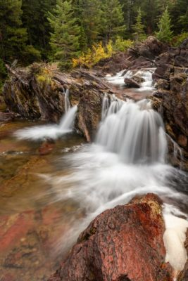 Redrock Falls in Glacier National Park was my favorite falls that we visited during our recent trip. The current water level was perfect.